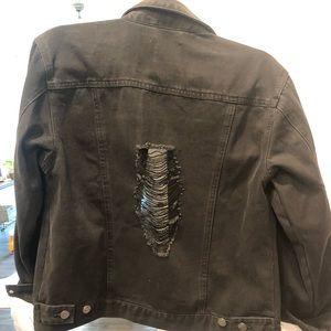 Jackets & Coats - Never worn black distressed jean jacket